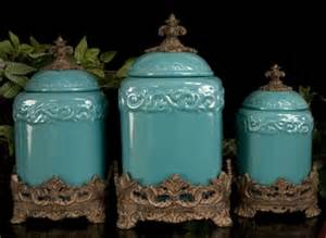 discontinued turquoise large ceramic canister set