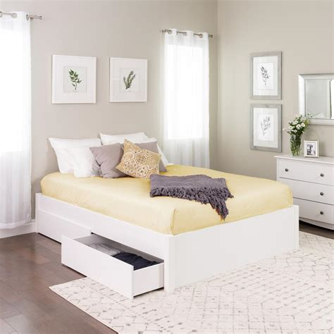 prepac select white queen  post platform bed