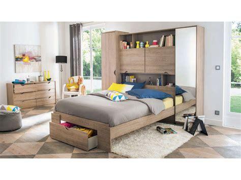 meuble chambre adulte lit 140 cm tiroir vision coloris chêne liège vente de