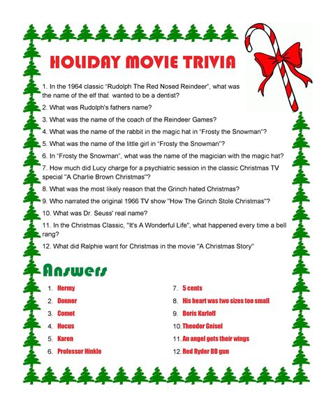 Holiday Movie Triviawith Answers Triviapuzzles And
