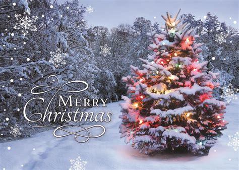 brilliant glow winter scene christmas tree card
