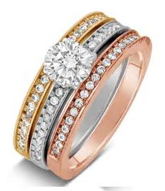 trio wedding ring sets 2 carat cut tri color white and yellow gold trio wedding ring set jeenjewels