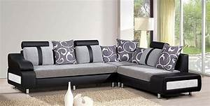 Free Modern Living Room Black Leather Sofa Design Corner