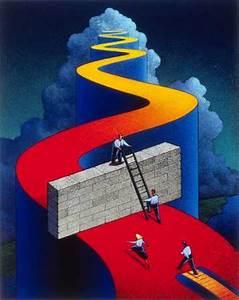 Stock Illustration - Ladder Against Wall Blocking Path