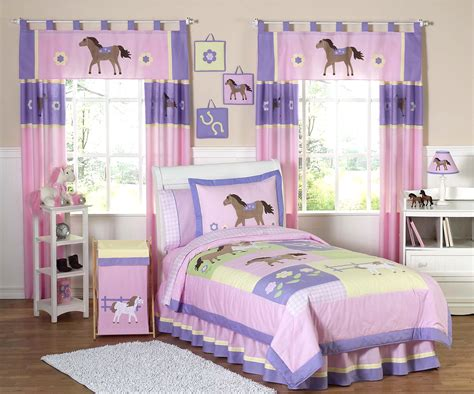 Pink Pony Horse Bedding For Girls Twin Comforter Sets 4pc