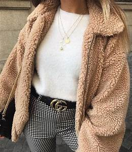 Outfit | style | teddy coat | teddy bear | jacket | pink | white jumper | gucci belt | check ...