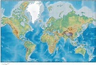 World Map with Land & Ocean Floor Terrain with Country ...