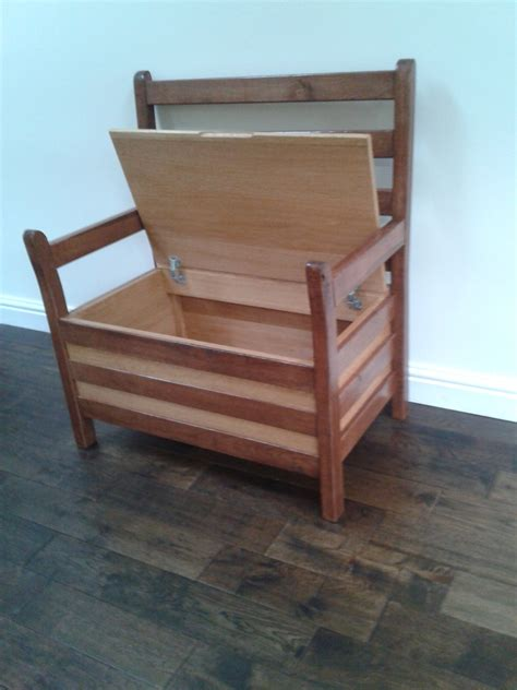 diy oak chair with storage and arms made from recycled
