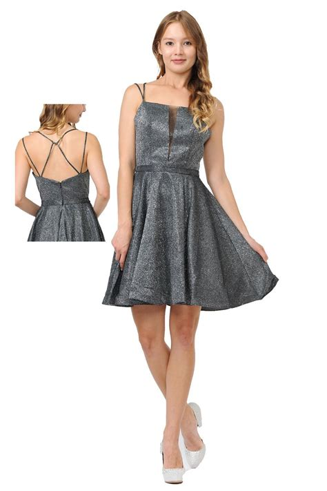 Silver Metallic Short Prom Dress With Plunging V-neckline ...