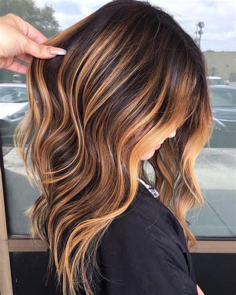 Bright Tangerine Highlights for Brunettes | Dark hair with ...