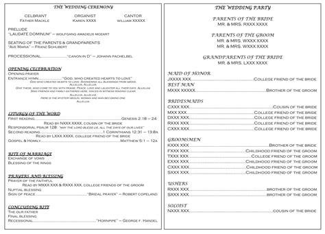catholic mass wedding program catholic wedding wedding programs and wedding program exles