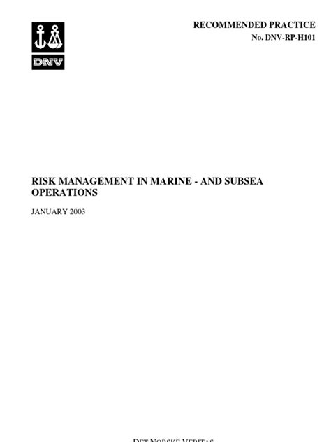 DNV-RP-H101 Risk Management in Marine and Subsea
