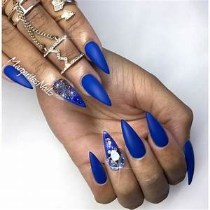 Matte Blue Stiletto Nails - Nail Art Gallery