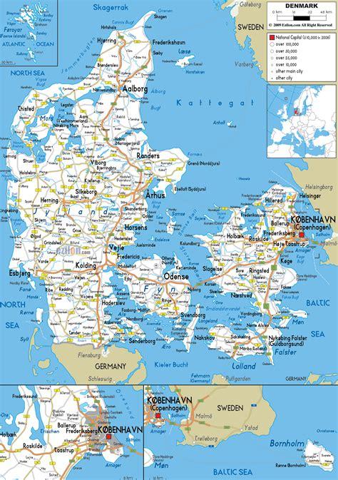 detailed clear large road map  denmark ezilon maps