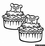 Groundhog Coloring Cupcakes Thecolor Charlie Brown sketch template