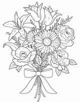 Coloring Flower Valentine Bouquet sketch template