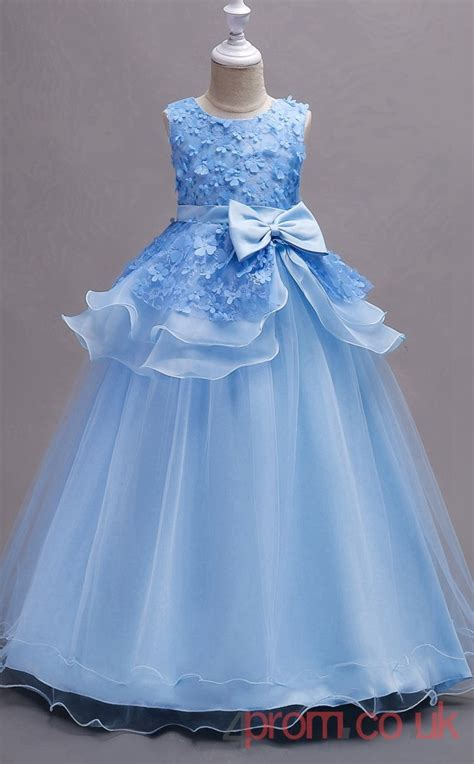 powder blue laceorganza ball gown jewel floor length