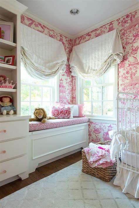 white  pink nursery  pink toile wallpaper