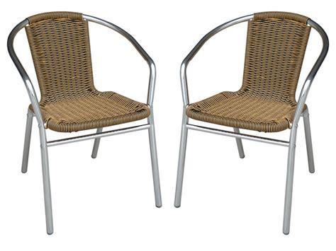 lot de chaise de jardin lot de 2 chaises jardin alu résine tressée 3 coloris fizz