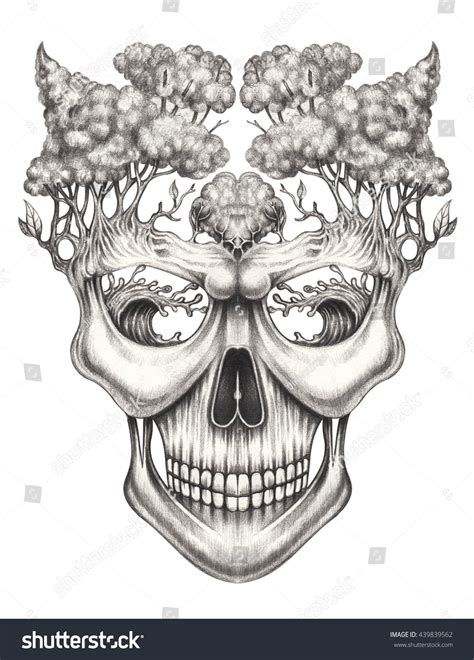 Art Skull Surrealhand Pencil Drawing Stock Illustration