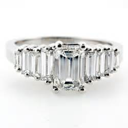 emerald cut engagement rings with baguettes emerald cut engagement ring with emerald cut baguette side diamonds e6