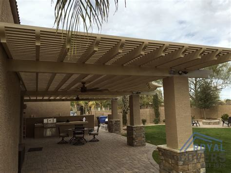 waterproof patio cover custom alumawood patio cover with outdoor fans in gilbert