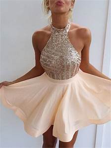 Sexy Halter Short Rose Gold Sparkly Homecoming Dress