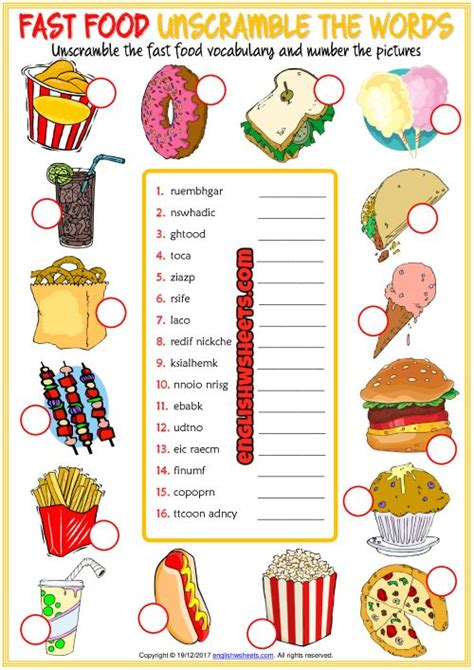 fast food esl printable vocabulary worksheets goeruentueler ile