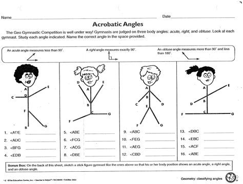 acrobatic angles worksheet obtuse acute right michael
