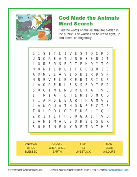 god   animals word search childrens bible