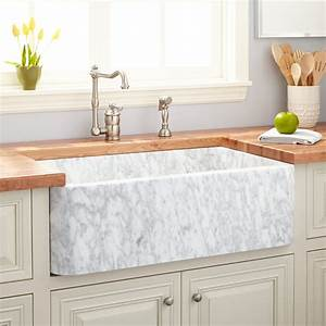 33quot Polished Marble Farmhouse Sink Carrara Kitchen