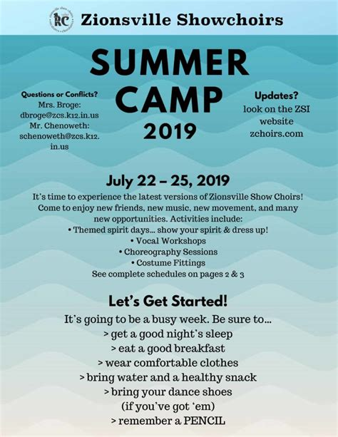 summer camp information zionsville showchoirs