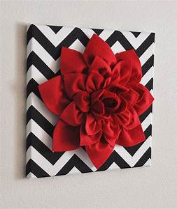 Red wall flower dahlia on black and white chevron by