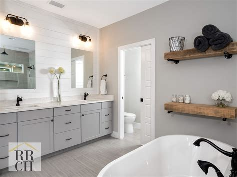 Grey Bathroom Fixtures by Gray Waypoint Cabinetry Quartz Countertops Rubbed