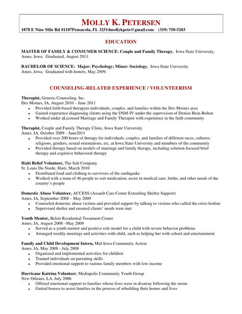 counselor resume and cover letter c