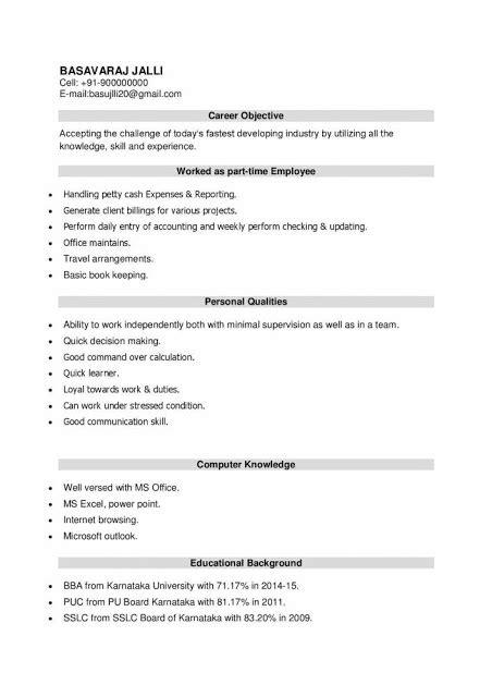 latest resume format  bba freshers  resume