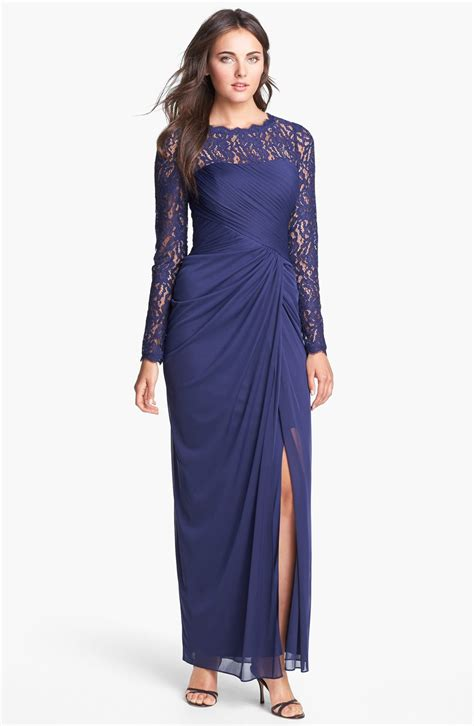 papell draped gown papell illusion sleeve draped mesh gown in blue