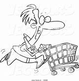 Cartoon Shopping Cart Coloring Pushing Outline Vector Pages Leishman Ron Printable Getcolorings Graphic sketch template