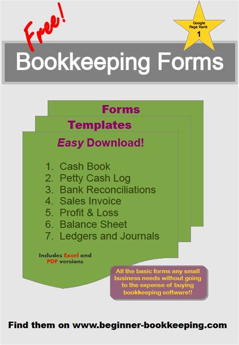 bookkeeping forms  accounting templates