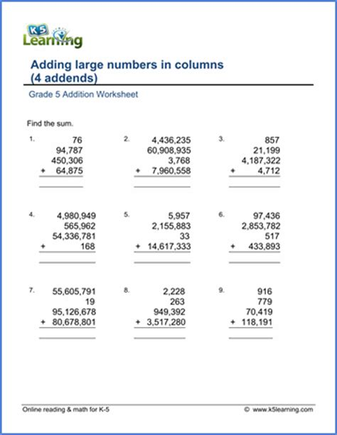division worksheets of grade 5 grade 5 addition subtraction worksheets free printable k5 learning