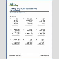 Grade 5 Addition & Subtraction Worksheets  Free & Printable  K5 Learning