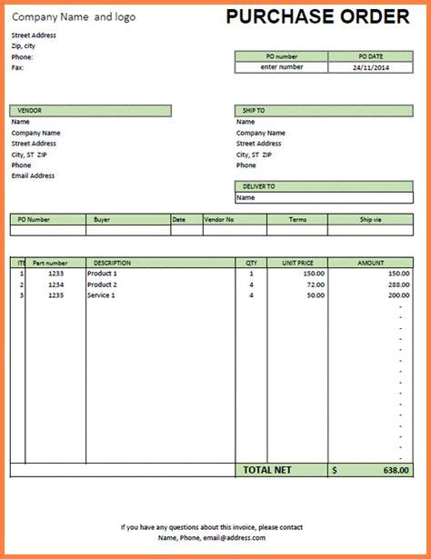 purchase order template excelpurchase order  price