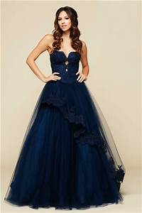 Ball Gown Strapless Cut Out Keyhole Navy Blue Tulle Lace ...