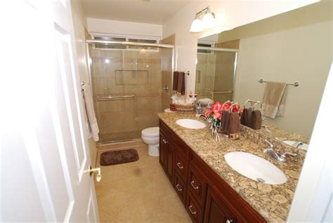 Double Sink Vanity With Porcelain Tile Shower/ Recessed