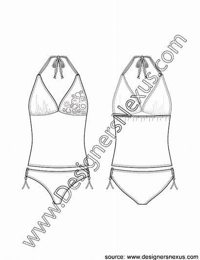 Sketch Halter Bikini Flat Tankini Bottom Neck