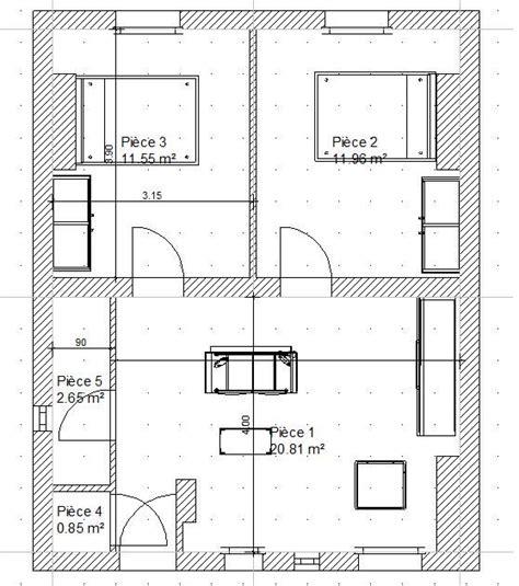 Plan Maison Avec Appartement Plan Appartement 2 Chambres 50m2