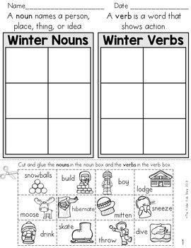 winter noun and verb sort parts of speech worksheets by the kinder kids