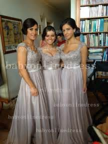 metallic bridesmaid dresses 2015 silver bridesmaid dresses lace sequins cap sleeves v neck chiffon brides