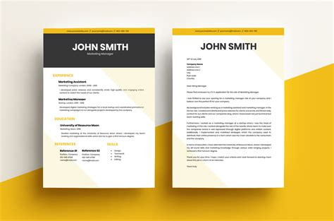 cv cover letter modern yellow template resource moon