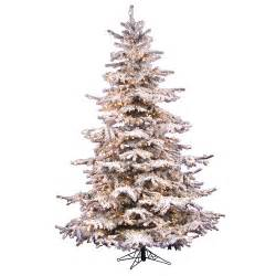 vickerman flocked sierra fir 7 5 white artificial christmas tree with 750 clear lights with